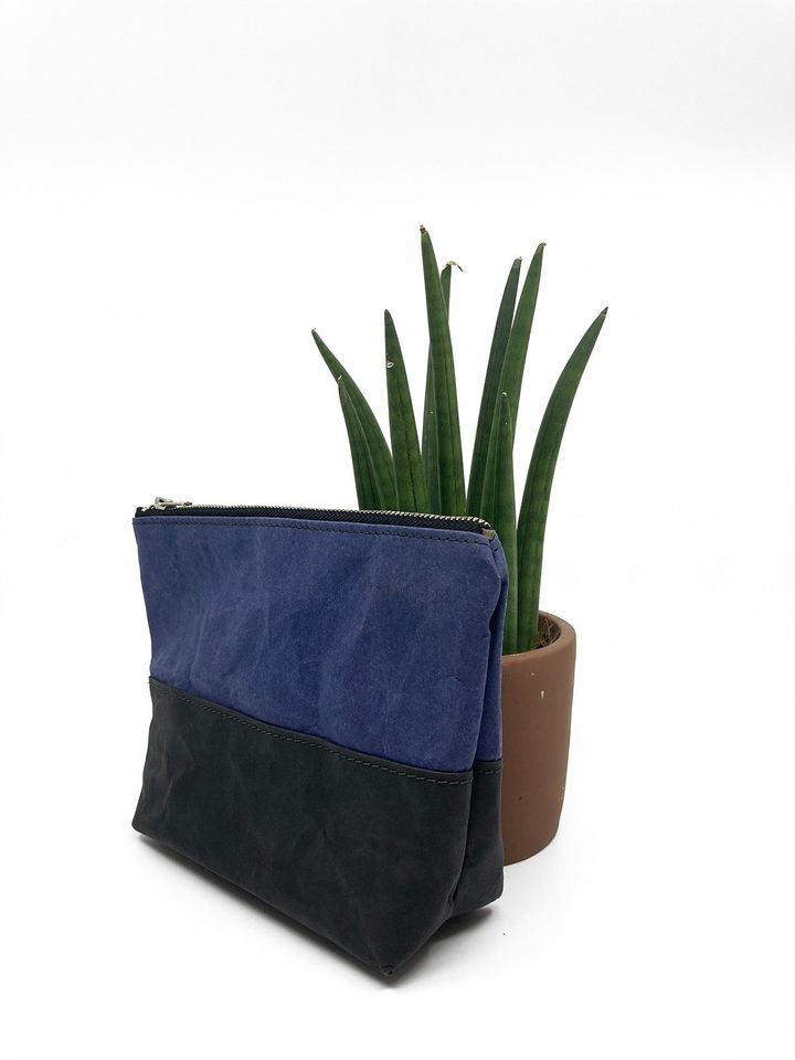 Travel / Beauty Pouch | Blue & Black
