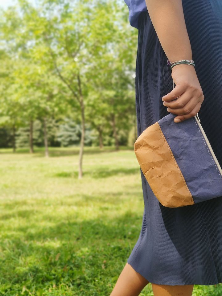 Travel / Beauty Pouch | Blue & Brown