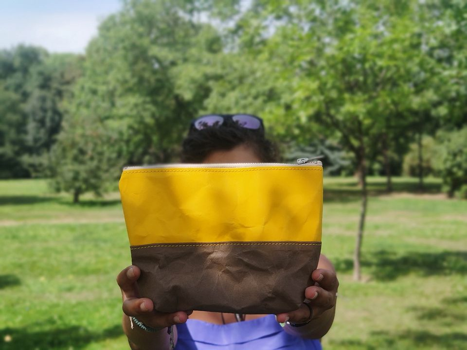 Travel / Beauty Pouch | Yellow & Chocolate
